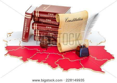 Constitution Of Poland Concept, 3d Rendering Isolated On White Background