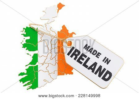 Made In Ireland Concept, 3d Rendering Isolated On White Background