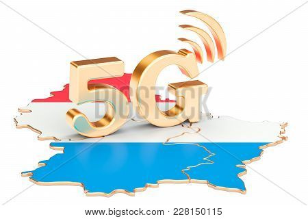 5g In Luxembourg Concept, 3d Rendering Isolated On White Background