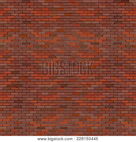 A Realistic Brick Wall Made Of Old Red Brick.