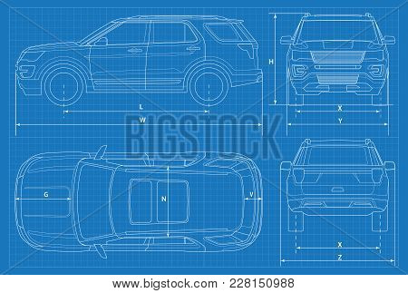 Off-road Car Schematic Or Suv Car Blueprint. Vector Illustration. Off-road Car In Outline. Business