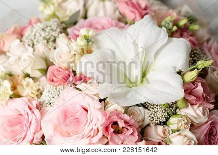 Flower Composition On A Black Background. Wedding Decor. Festive Decor. Bouquet From Spring Flowers.