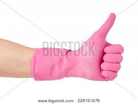 Hand In A Rubber Glove For Cleaning Cleanliness On A White Background Isolation