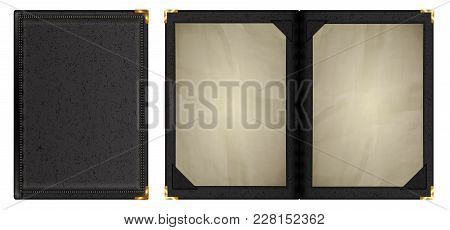 A Leather-bound Notebook Is Shown Two Kinds Of Closed And Open With Old Sheets Of Paper. Isolated Ob