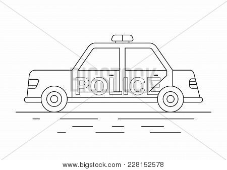 Police Car Isolated. Line Icon. Vector Illustration