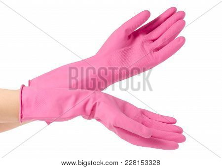 Handsin A Rubber Glove For Cleaning Cleanliness On A White Background Isolation