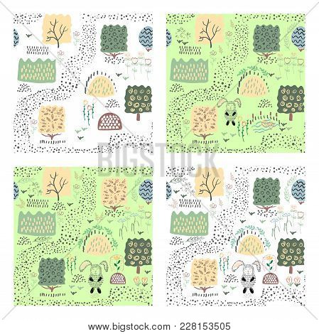 Set Of Seamless Pattern Backgrounds With Cow And Plants. Vector Illustration.