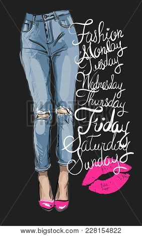 Fashion Illustration Of Femail Legs In Blue Skinny Jeans With Holes