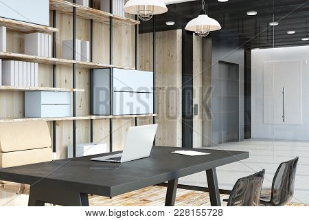 Side View Of Clean Office Or Library Interior Design. 3d Rendering