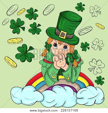 Vector Colored Illustration Of A Girl In A Leprechaun Costume On A Rainbow With Clouds With Clover A