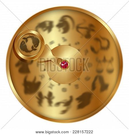 Vector Illustration Gold Disc With Signs Of The Zodiac, Pisces Separately Allocated. Isolated Object