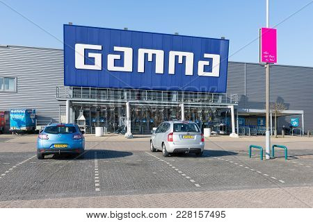 Lelystad, The Netherlands - February 22, 2018: Entrance Of Construction Market Gamma With Building T