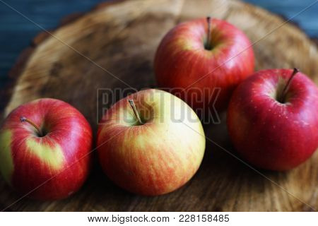 Delicious Fresh Juicy Red Apples Close Up