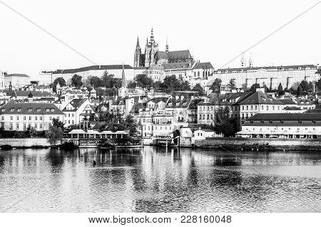 Prague Castle At Sunrise Time, Prague, Czech Republic. Black And White Image.