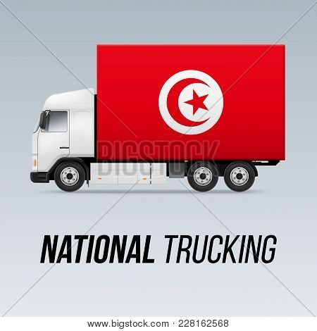 Symbol Of National Delivery Truck With Flag Of Tunisia. National Trucking Icon And Tunisian Flag