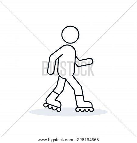 Roller Skate Line Icon On White Background. Vector Roller Skating Outline Symbol.