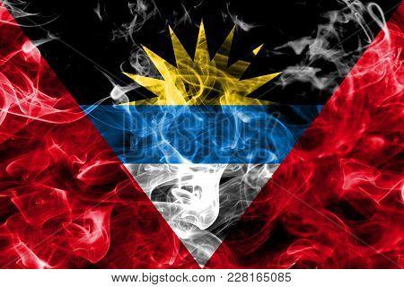 Antigua And Barbuda Smoke Flag Isolated On A Black Background
