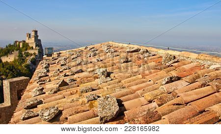 The Tile Roof Of The Fortress Cesta At Sunny Summer Day