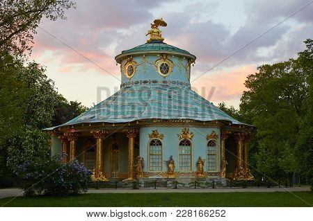 Potsdam, Germany - May 28, 2014: Chinese House In Sanssouci Park At Sunset