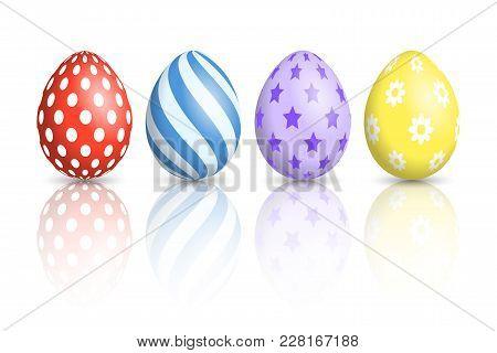 Colourful Easter Eggs On White Background. Vector Illustration