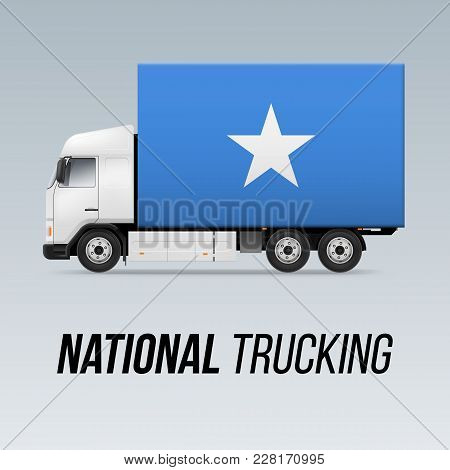 Symbol Of National Delivery Truck With Flag Of Somalia. National Trucking Icon And Somalian Flag