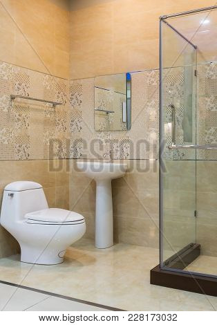 Bright New Bathroom Interior With Glass Walk In Shower With Brown Tile Surround, Toilet, Bidet, Basi