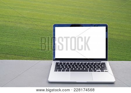 Blank Screen On Laptop With Green Grass Texture Background, Free Copy Space On Notebook Screen For T