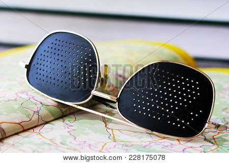 Black Medical Glasses With Holes And Map