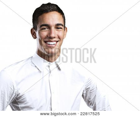 portrait of handsome young man smiling on black background poster
