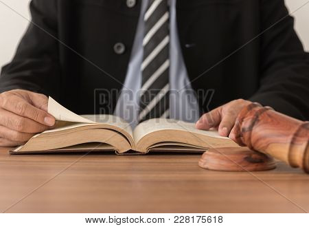 Lawyers Are Reading Law Books. Concept Of Legal Advisor, Legal Services, Attorney, Legal Education.