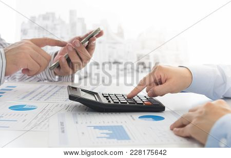 Manager Analyze Financial Numbers To View The Performance Of The Company. Concept Of Analyze Data, B