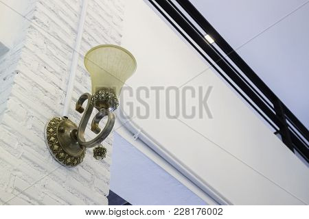 Vintage Lamp Light In Dark Room, Stock Photo