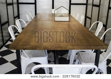 Furniture Set In Hipster Meeting Room, Stock Photo