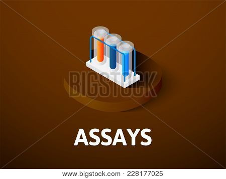 Assays Icon, Vector Symbol In Flat Isometric Style Isolated On Color Background