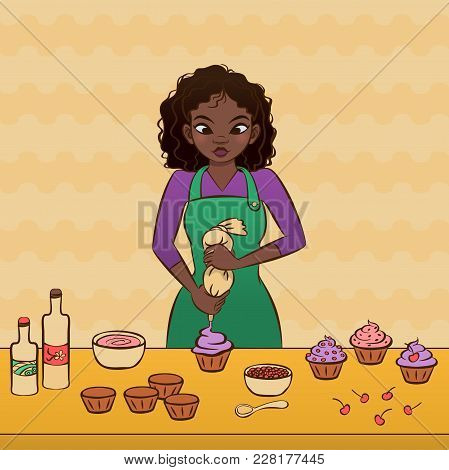 Young African Woman Decorating A Cupcake. Hand Drawn Vector Graphics Illustration.  Fully Editable V