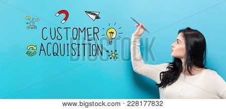 Customer Acquisition With Young Woman Holding A Pen On A Blue Background