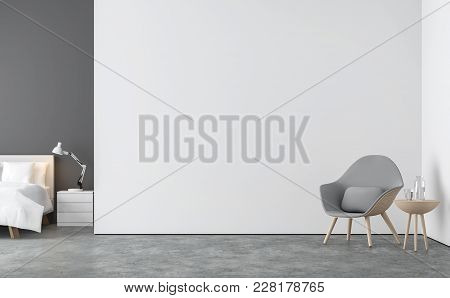 Minimal Style  Living Room And Bedroom 3d Rendering Image.there Are Concrete Floor,white And Gray Wa