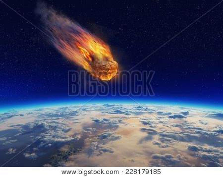 Meteor Falling To Planet Earth .conceptual Of Image