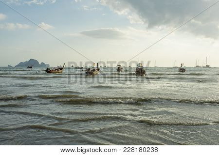 Krabi Thailand - 2 Feb 2018: A Lot Of Long Tail Boat Back From Diving At The Ao Nang Beach Before Th