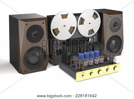 Vintage Tube Amplifier, Reel Tape Recorder And Loudspeakers On White Background (3d Illustration).