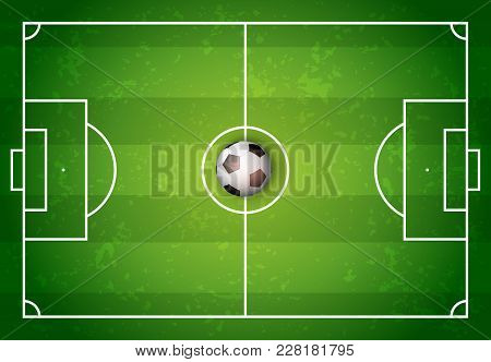 Football Playing Field Or Soccer Field Top View And Football Ball Or Soccer Ball With Green Grass Pa