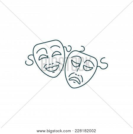 Comedy And Tragedy Theater Masks In Line Style. Vector Illustration Isolated On White Background