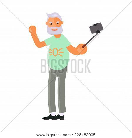 Healthy Active Lifestyle Retiree For Grandparents. Old Man Character Make Selfies.  Voyage For Senio