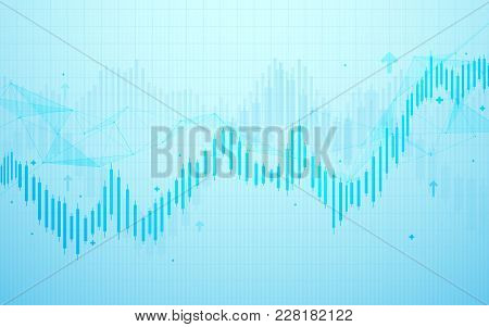 Stock Market Chart. Business Graph On Blue Background