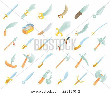 Sword Icon Set. Cartoon Set Of Sword Vector Icons For Web Design Isolated On White Background