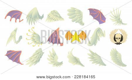 Wings Icon Set. Cartoon Set Of Wings Vector Icons For Web Design Isolated On White Background
