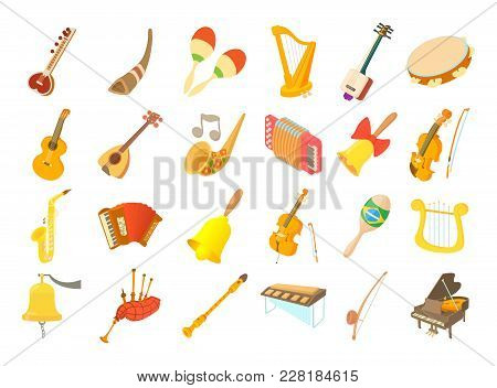 Musical Instrument Icon Set. Cartoon Set Of Musical Instrument Vector Icons For Web Design Isolated