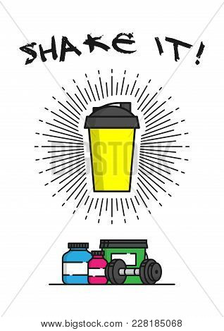 Shaker With Sports Supplements Vector Illustration. Protein, Shaker, Gainer, Dumbbell Line Art Creat