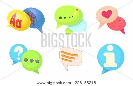 Speak Bubble Icon Set. Cartoon Set Of Speak Bubble Vector Icons For Web Design Isolated On White Bac