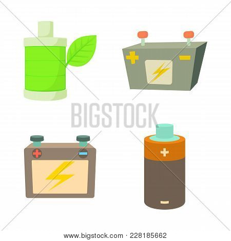 Battery Icon Set. Cartoon Set Of Battery Vector Icons For Web Design Isolated On White Background